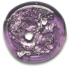 Glass Lamp Bead 26x26mm Ring Amethyst/Silver Foil